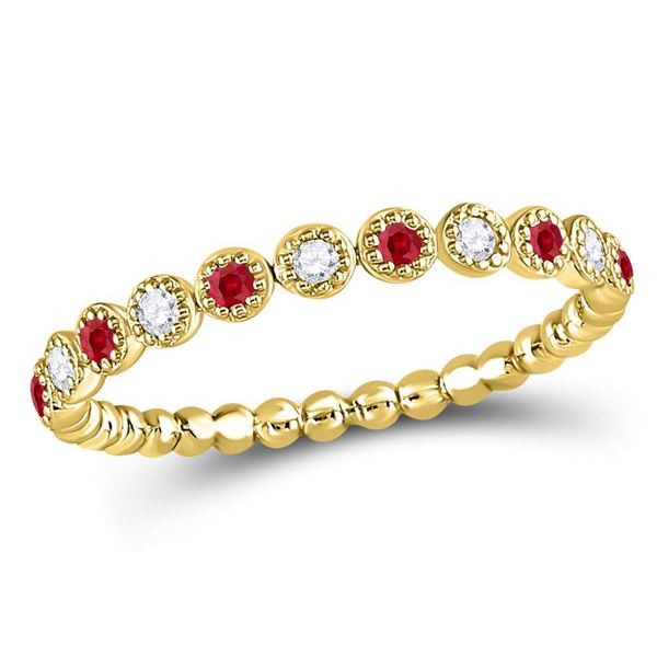 Ruby Diamond Beaded Dot Stackable Band Ring 1/6 Cttw 10kt Yellow Gold