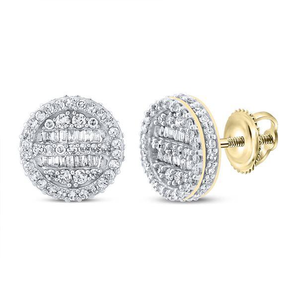 Mens Baguette Diamond Circle Earrings 1 Cttw 10kt Yellow Gold