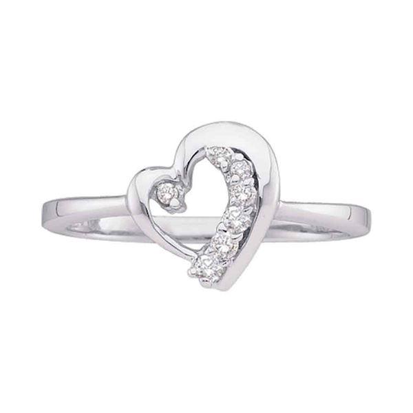 Diamond Heart Journey Ring 1/10 Cttw 10kt White Gold