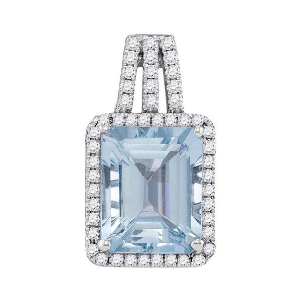 Emerald Aquamarine Diamond Solitaire Pendant 2-7/8 Cttw 14kt White Gold