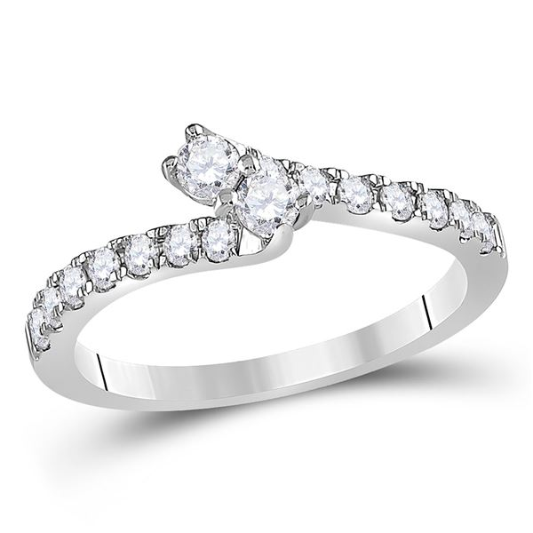 Diamond 2-stone Bridal Wedding Engagement Ring 1/2 Cttw 14kt White Gold