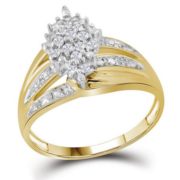 Prong-set Diamond Oval Cluster Ring 1/5 Cttw 10kt Yellow Gold