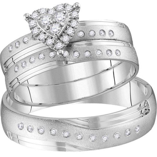 His Hers Diamond Heart Matching Wedding Set 1/4 Cttw 14kt White Gold