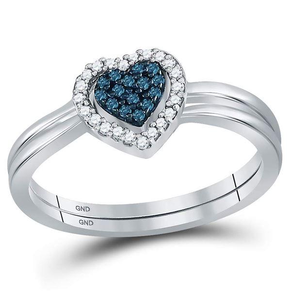 Blue Color Enhanced Diamond Heart Bridal Wedding Set 1/8 Cttw Sterling Silver