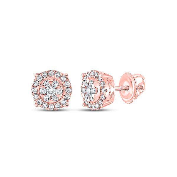 Diamond Halo Cluster Earrings 1/4 Cttw 14kt Rose Gold