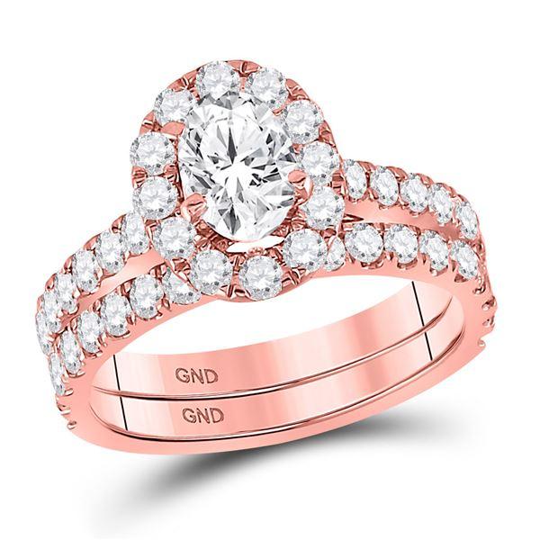 Oval Diamond Bridal Wedding Ring Band Set 1-7/8 Cttw 14kt Rose Gold