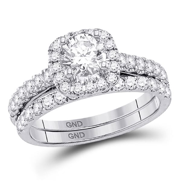 Diamond Bridal Wedding Ring Band Set 1-1/2 Cttw 14kt White Gold