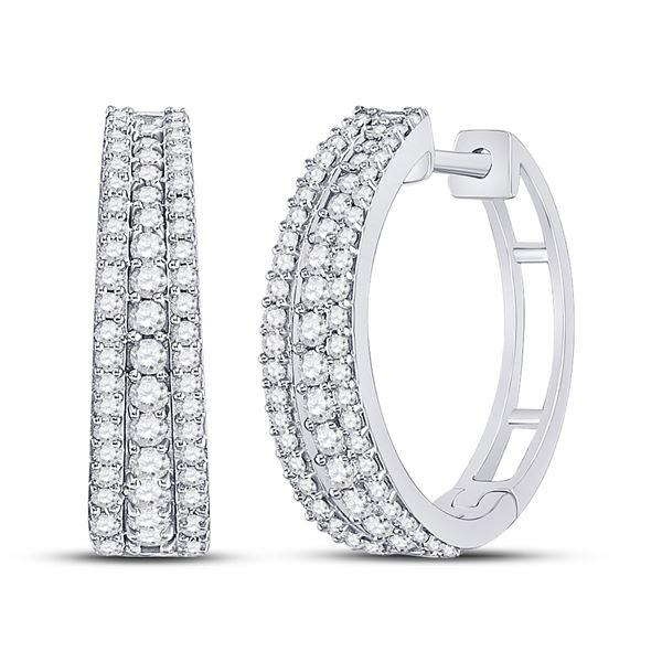 Diamond Fashion Tapered Hoop Earrings 1 Cttw 14kt White Gold