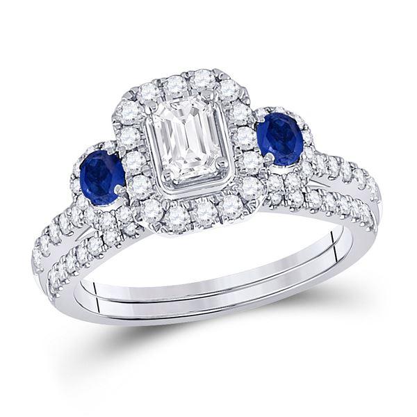 Emerald Diamond Bridal Wedding Ring Band Set 7/8 Cttw 14kt White Gold