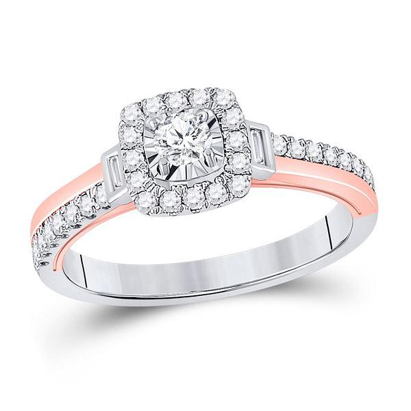 Diamond Halo Bridal Wedding Engagement Ring 1/2 Cttw 10kt Two-tone Gold