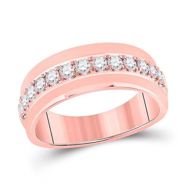Mens Diamond Wedding Single Row Band Ring 3/4 Cttw 14kt Rose Gold
