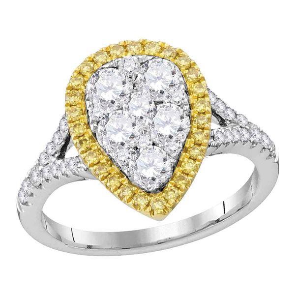 Yellow Diamond Teardrop Ring 1-1/2 Cttw 18kt White Gold