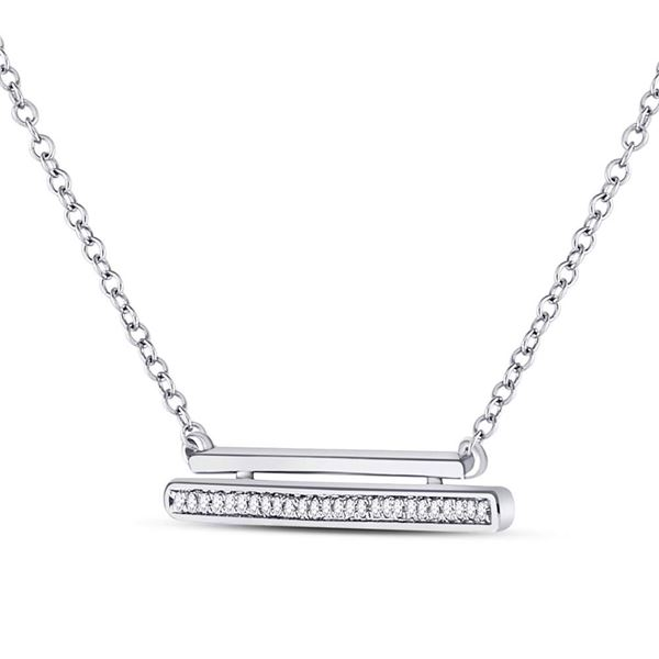 Diamond Double Horizontal Bar Necklace 1/10 Cttw 10kt White Gold