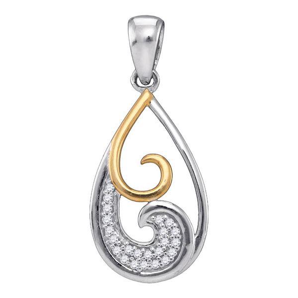 Diamond 2-stone Teardrop Pendant 1/20 Cttw Sterling Silver