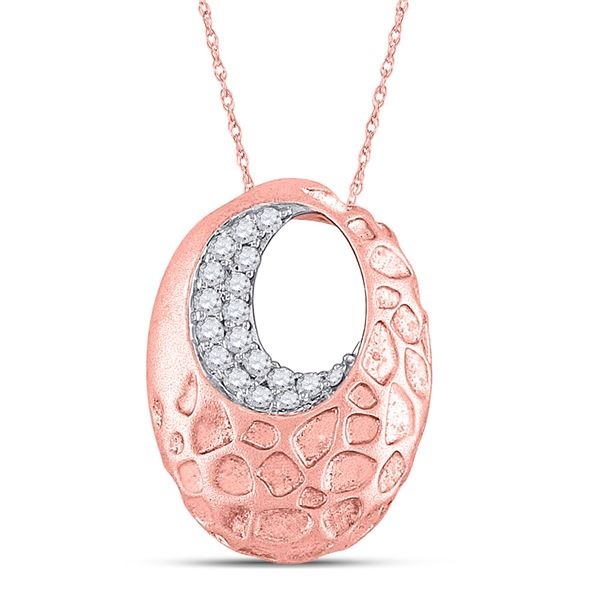 Diamond Pitted Oval Pendant 1/6 Cttw 14kt Rose Gold