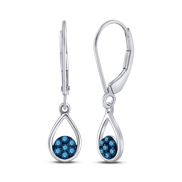 Blue Color Enhanced Diamond Dangle Earrings 1/5 Cttw 10kt White Gold