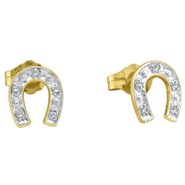 Diamond Horseshoe Earrings 1/20 Cttw 10kt Yellow Gold