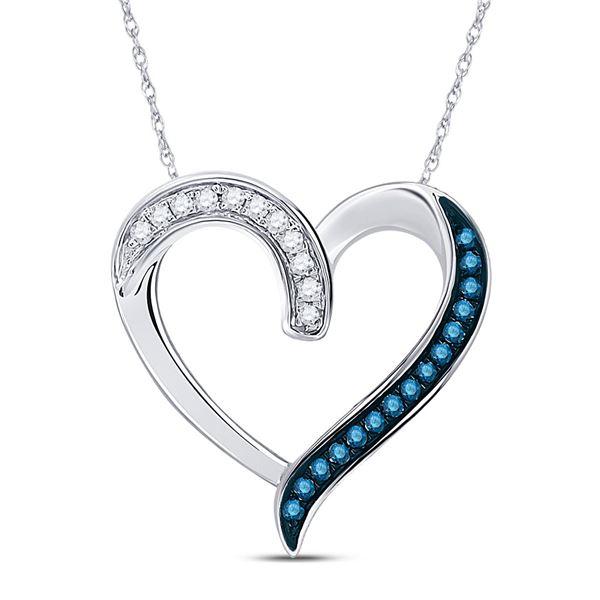 Blue Color Enhanced Diamond Heart Outline Pendant 1/5 Cttw 10kt White Gold