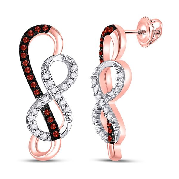 Red Color Enhanced Diamond Infinity Earrings 1/6 Cttw 10kt Rose Gold