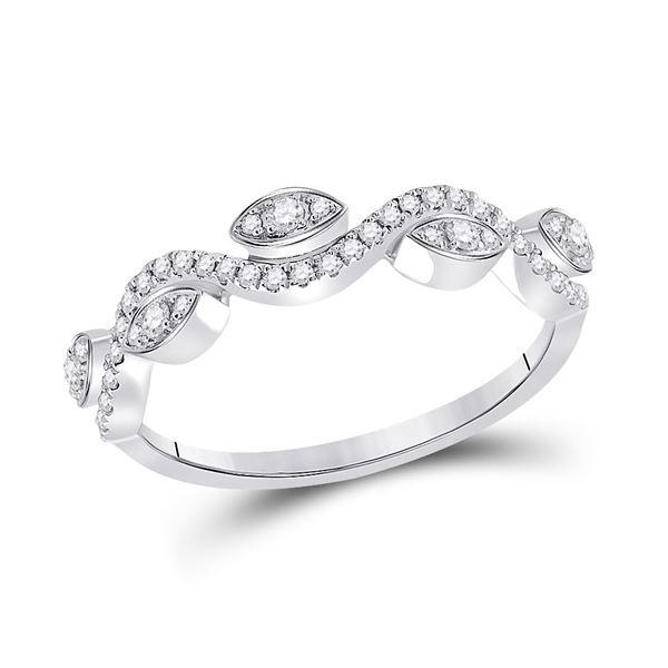 Diamond Wavy Band Ring 1/5 Cttw 10kt White Gold