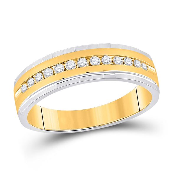 Mens Diamond Wedding Single Row Band Ring 1/3 Cttw 10kt Two-tone Gold