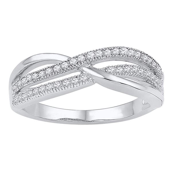 Diamond Crossover Band Ring 1/5 Cttw 10kt White Gold