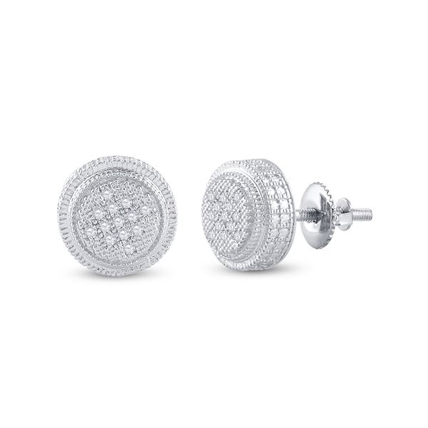 Sterling Silver Mens Diamond 3D Circle Disk Earrings 1/20 Cttw Sterling Silver