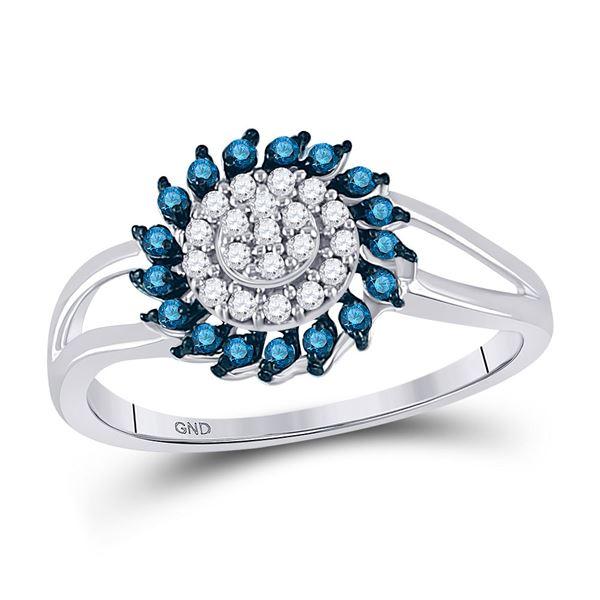 Blue Color Enhanced Diamond Circle Frame Cluster Ring 1/4 Cttw 10kt White Gold