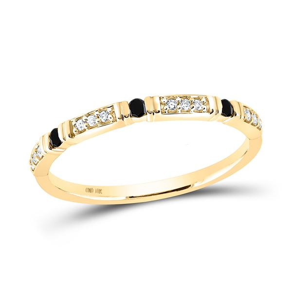 Black Color Enhanced Diamond Band Ring 1/10 Cttw 10kt Yellow Gold