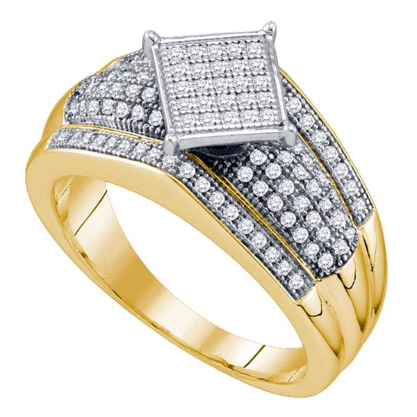 Diamond Elevated Square Cluster Ring 1/3 Cttw Yellow-tone Sterling Silver