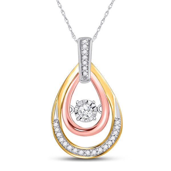 Diamond Oval Moving Twinkle Pendant 1/6 Cttw 10kt Tri-Tone Gold