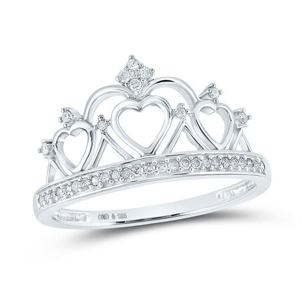 Diamond Heart Crown Tiara Fashion Ring 1/6 Cttw Sterling Silver