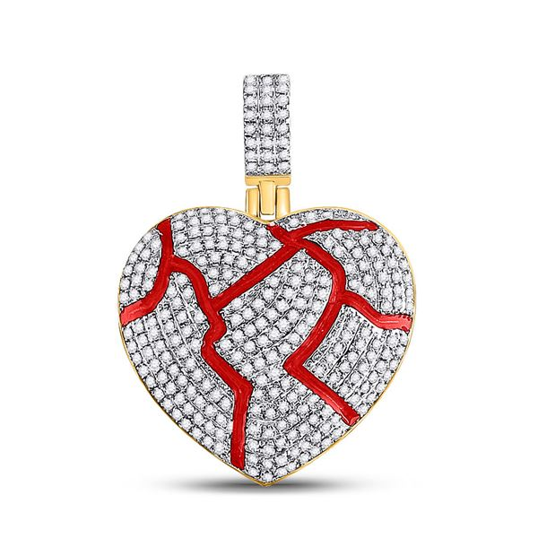 Mens Diamond Red Broken Heart Charm Pendant 3/4 Cttw 10kt Yellow Gold