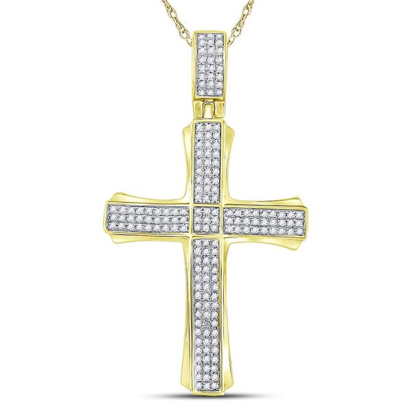 Mens Diamond Cross Charm Pendant 3/8 Cttw 10kt Yellow Gold