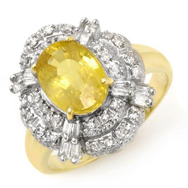3.05 ctw Yellow Sapphire & Diamond Ring 14k Yellow Gold - REF-81H8R