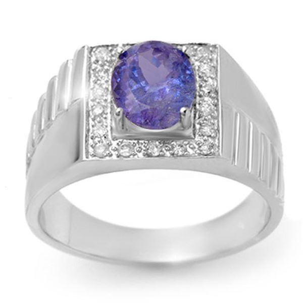 2.75 ctw Tanzanite & Diamond Men's Ring 10k White Gold - REF-53A5N