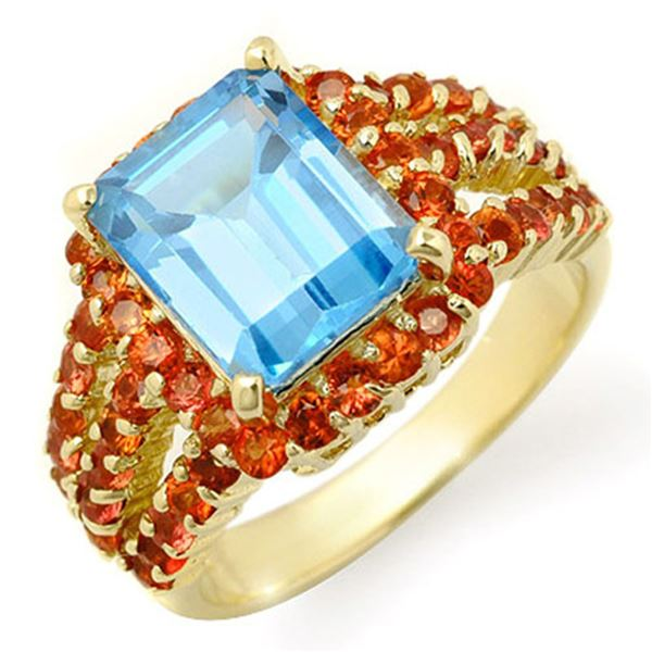 5.0 ctw Red Sapphire & Blue Topaz Ring 10k Yellow Gold - REF-46A2N