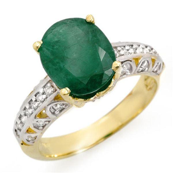 3.83 ctw Emerald & Diamond Ring 10k Yellow Gold - REF-37G2W