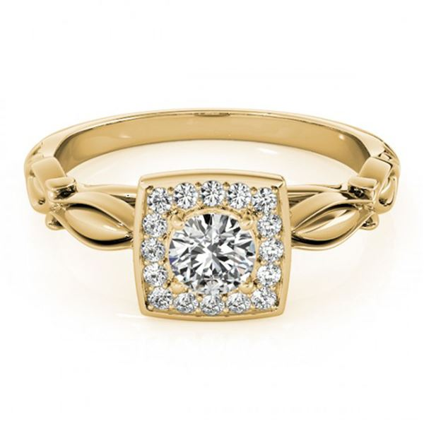 0.55 ctw Certified VS/SI Diamond Halo Ring 18k Yellow Gold - REF-66A3N