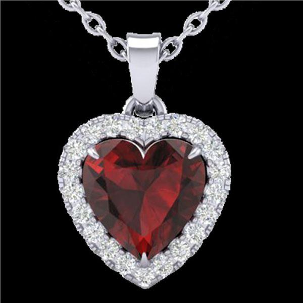 1 ctw Garnet & Micro Pave VS/SI Diamond Heart Necklace 14k White Gold - REF-21R3K