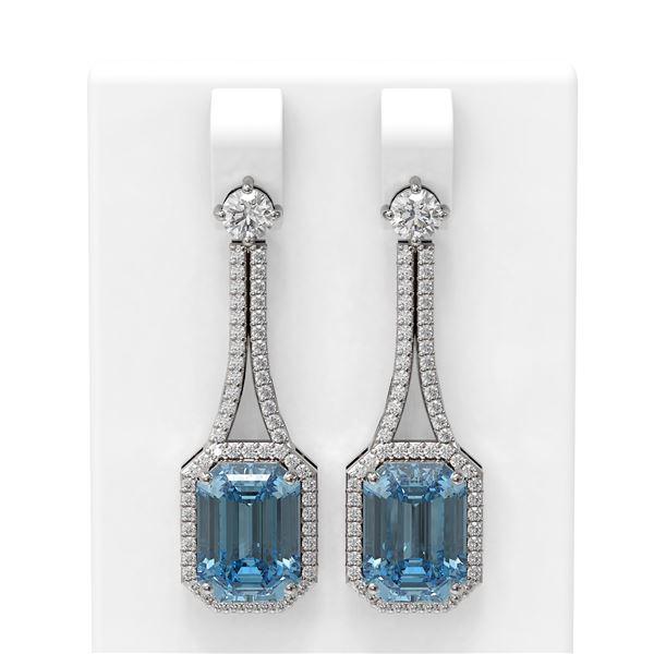 10.23 ctw Blue Topaz & Diamond Earrings 18K White Gold - REF-219W3H