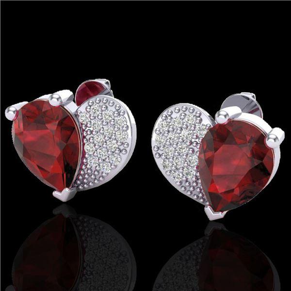 2.50 ctw Garnet & Micro Pave VS/SI Diamond Earrings 10k White Gold - REF-22K5Y