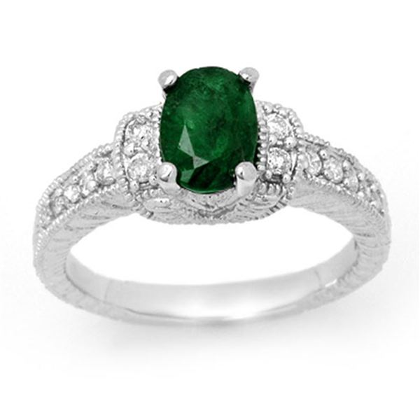 1.60 ctw Emerald & Diamond Ring 14k White Gold - REF-47G2W