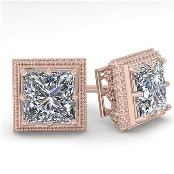 1.0 ctw VS/SI Princess Diamond Stud Earrings Art Deco 18k Rose Gold - REF-170F9M