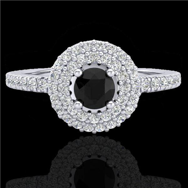 0.80 ctw Micro VS/SI Diamond Designer Ring DOUBLE 18k White Gold - REF-46G3W
