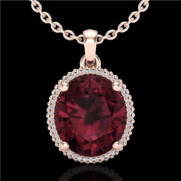 11 ctw Garnet & Micro Pave VS/SI Diamond Necklace 14k Rose Gold - REF-48G2W