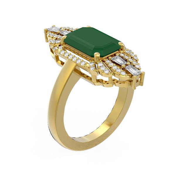 6.52 ctw Emerald & Diamond Ring 18K Yellow Gold - REF-178N2F