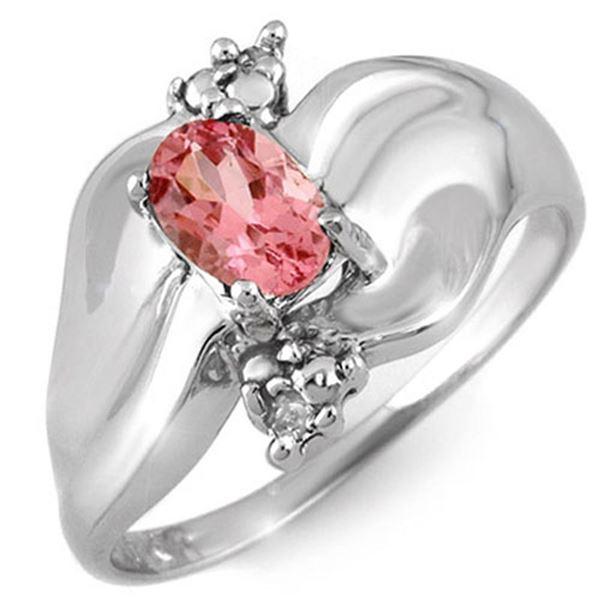 0.54 ctw Pink Tourmaline & Diamond Ring 10k White Gold - REF-18F2M