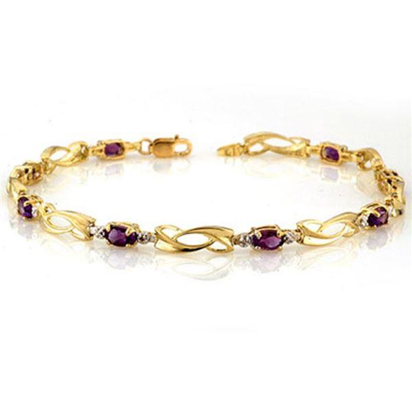 2.02 ctw Amethyst & Diamond Bracelet 10k Yellow Gold - REF-19K8Y