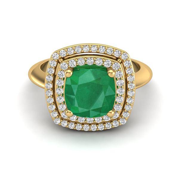2.52 ctw Emerald & Micro VS/SI Diamond Pave Ring 18k Yellow Gold - REF-55Y2X
